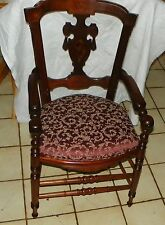 Solid Walnut Carved Eastlake Armchair / Parlor Chair  (BH-AC52)