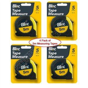 4 Pack 5m Metal Measuring Tape Measure Rubber Grip Pocket 5 Metre 16' Rule Clip