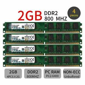 8GB 4x 2GB 800MHz DDR2 PC2-6400U DIMM 240Pin KVR Desktop Memory SDRAM Kingston