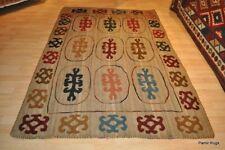 5' x 7' wool Embroidery Tribal rug hand sewn, hand woven wool area wool rug