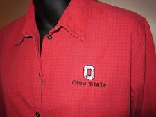 Sz M Scarlet Gray Black OSU Ohio State Check 3 4 Sleeve Shirt Cutter and Buck