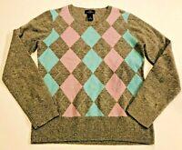 BROOKS BROTHERS 346 Women's Gray Argyle Lambswool Sweater- Size Medium- Ret $98