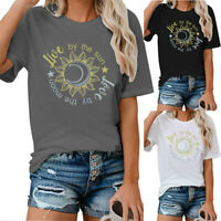 Women Love By The Sunn Love By The Moon Tee Casual Trendy Top Blouse T-Shirt