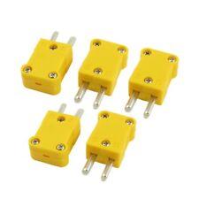 5pzs Amarillo Conector de cable de termopar de tipo K de 2 pines macho plan R9G4