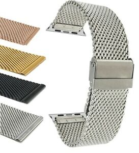Steel Mesh Watch Band Strap for Apple Watch Band Series 6 5 4 3 2, 38 40 42 44mm