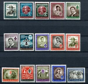 Nicaragua 1957 Baden-Powell Pfadfinder Scouts 1126-1140 Block 43-44 Postfrisch