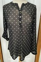 Women's M SHEER Black Blouse White Polka Dots Roll Tab Long Sleeve Knapp Studio