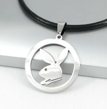 Silver Playboy Bunny Rabbit Animals Pendant 3mm Black Leather Choker Necklace