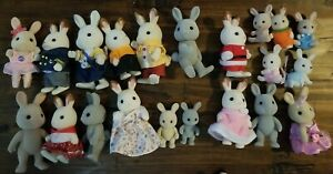 1985 Calico Critters Sylvanian Families Lot of 21 Gray White Bunny Rabbits Epoch