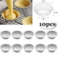 10PCS Egg Tart Aluminum Cupcake Cake Cookie Lined Mold Mould Tin Baking Tool DIY