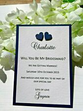 Will You Be My.... Bridesmaid Cards - Heart Design - Navy