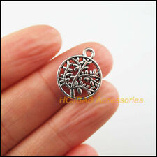 15 New Tree Charms Tibetan Silver Tone Round Heart Pendants 15x18mm