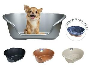 Plastic Dog Bed Basket Heavy Duty Waterproof Pet Cat Plush Cover Small 4 Colours