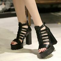 Women's Open Toe Chunky High Heel Ankle Strap Buckle Sandals Platform Shoes Chic