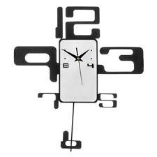 Premier Housewares Retro Home Wall Clock, Black & White Metal with Pendulum