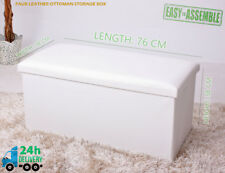 White Cream Ivory Large Faux Leather Ottoman Storage Box 2 Seater Bench Toy Box