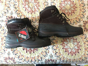 TOTES Men's Winter Boots brown 12 M leather upper - NEW waterproof Thermolite