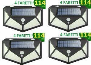 4X FARETTO PANNELLO SOLARE 114 LED SENSORE DI MOVIMENTO LUCE ESTERNO GIARDINO