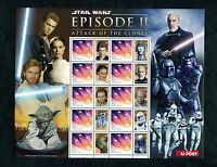 AUSTRALIA STAR WARS EPISODE II ATTACK OF THE CLONES SHEET OF 10 & 10 LABELS NH