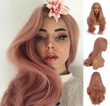 """US STOCK 24"""" Smoke Pink Synthetic Hair Lace Front Wig Long Wavy Heat Full Wig"""
