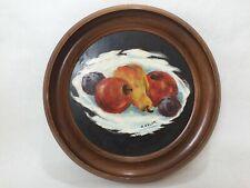 """R. Esler Original Oil Painting Still Life w/Round Wooden Frame, Signed, 8 1/2"""" D"""