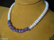 PEARL NECKLACE AMETHYST STRAND STRING WHITE SILVER LUSTER DESIGNER HONORA Gift