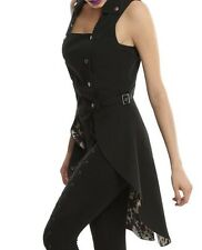 GOTHIC STEAMPUNK ROSES AND CLOCKWORK LONG SPLIT VEST NWT MD