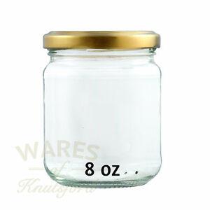 8oz Round Glass Jam Jars, 228ml, Extra Large Pack 192, Gold Lids, Jams, New*