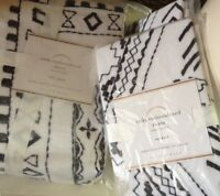 Pottery Barn Rickie Duvet Cover Black White Queen 2 Euro Shams Embroidered New