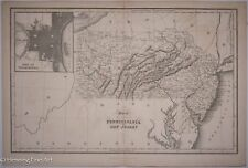 Antique Map of Pennsylvania and New Jersey by Hinton Simpkin Marshall 1832, RARE