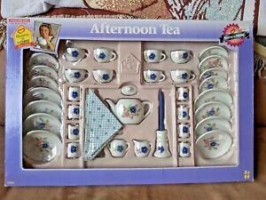 Vintage Tootsietoy Porcelain 50 Pc Afternoon Tea Set Hearts n Home Flower 1997