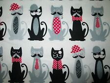 COOL CATS HATS MUSTACHES BOW TIES CAT OFF WHITE COTTON FABRIC BTHY