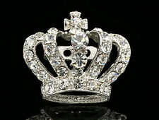 2 pc Princess Austrian clear AB crystal silver plated Brooch pin Royal Crown D23