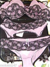 AGENT PROVOCATEUR BLACK & LILAC REGINE BRA 32E & SIZE MEDIUM SUSPENDER+BRIEF NWT