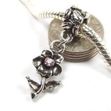 Pink Crystal Flower Dangle Screw Threaded Stop Bead for European Charm Bracelet