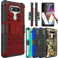 For LG V20 Shockproof Phone Case Kickstand Clip+Tempered Glass Screen Protector
