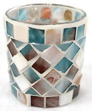 Mosaik Windlicht maritim mit Muschel Perlmutt Glas und Zement 8 cm