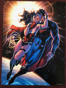 """LEE WONDER WOMAN LOVES SUPERMAN POSTER 12X16"""" NM SHPPD FLAT JUSTICE LEAGUE"""