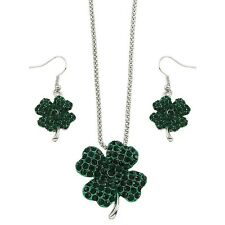 """Green 4 Leaf Clover Fashionable Necklace & Earrings Set - Fish Hook - 17"""" Chain"""