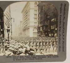 WWI Stereoview card:  National Guard Troops Parade in New York City, 42nd Div.