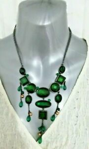 Deep Green Glass Bead Statement Necklace Costume Jewellery Peaky Blinders