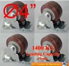 """4""""x2"""" PVC Castor Wheels, 4 Swivel with Brake, Heavy Duty Caster, Trolley, Bench"""