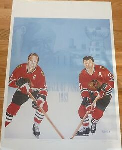 CHICAGO BLACKHAWKS BOBBY HULL & STAN MIKITA SIGNED LIMITED EDITION LITHOGRAPH