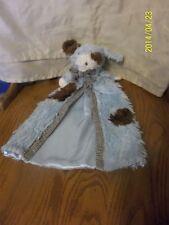 Mud Pie Blue Brown Off WHite Puppy Dog Security Blanket Plush