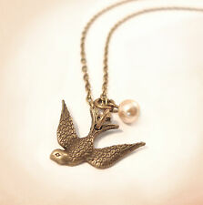 Vintage Gold Swallow Birdy & Pearl Charm Necklace- Jewellery- Cute Bird Jewelry