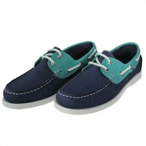 Womens Yachtsman Navy/Green  Leather Lace-up Deck shoes Flat