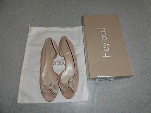 HEYRAUD BALLERINES FEMME BOUTS OUVERTS CUIR NEUVE POINTURE 40