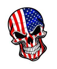 LARGE GOTHIC Biker SKULL & American Stars & Stripes Flag vinyl car sticker Decal