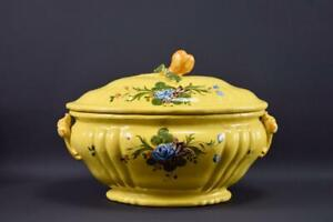 Vintage Yellow Hand Painted Montpellier Ceramic Lidded Tureen Provence
