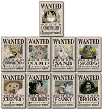 *Legit* One Piece Straw Hat Crew Wanted Poster Authentic Anime Sticker Set#55684